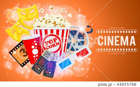 cinema and movie bannerのイラスト素材 43055766 pixta