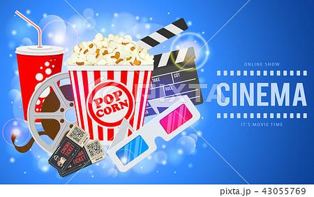 cinema and movie bannerのイラスト素材 43055769 pixta