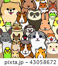 かわいいペット動物たちの背景 シームレス カラー 43058672
