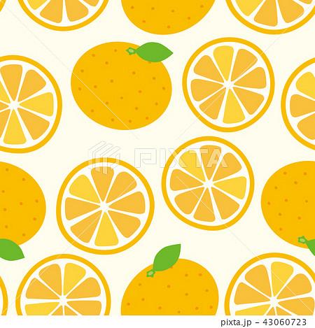 パターン みかん オレンジ ホワイトのイラスト素材