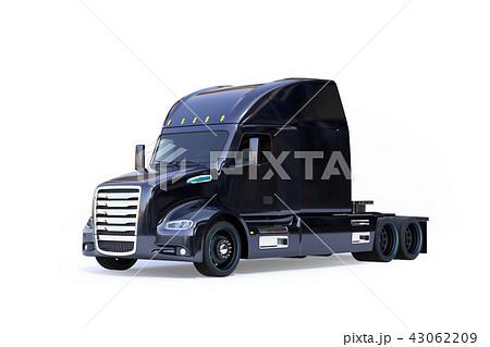 白バックに黒色の北米仕様燃料電池電動トラックキャビンのイメージ。ゼロエミッション物流コンセプト 43062209