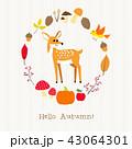 動物 リーフ 葉のイラスト 43064301