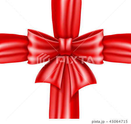 red bow and ribbon realistic vector illustration 43064715