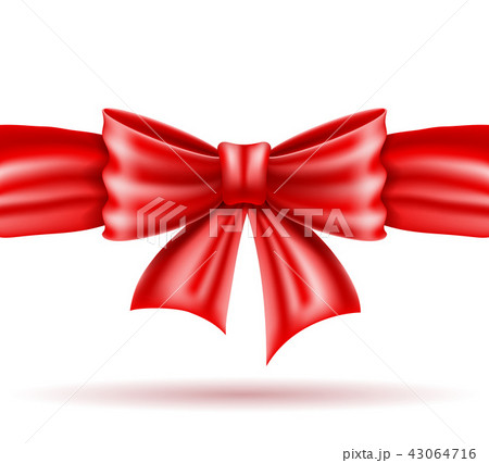 red bow and ribbon realistic vector illustration 43064716