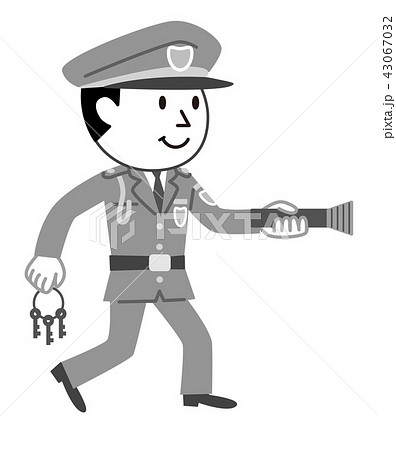 警備員 夜間警備 モノクロ イラスト 43067032