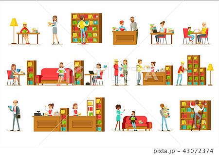 People Taking And Reading Books In Library Set Of Illustrations 43072374