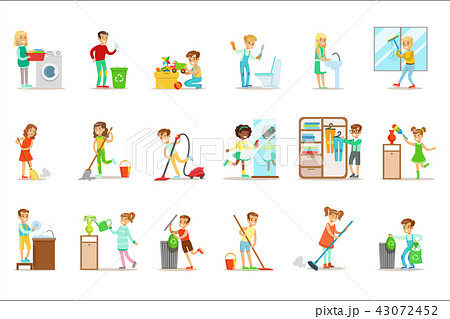 Children Helping With Home Cleanup, Washing The Floor, Throwing Out Garbage And Watering Plants 43072452