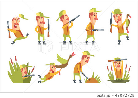 Hunter In Different Funny Situations Set Of Illustrations 43072729
