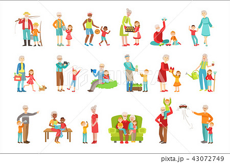 Grandparents And Kids Spending Time Together Set Of Illustrations 43072749