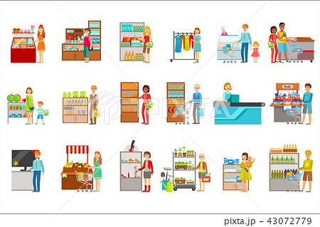 People Shopping In Department Store Set Of Illustrations 43072779