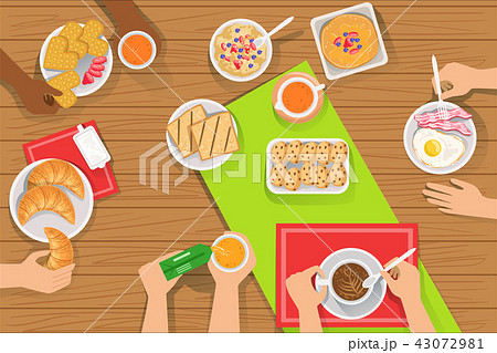 People Eating Different Breakfast Meals Together View From Above 43072981