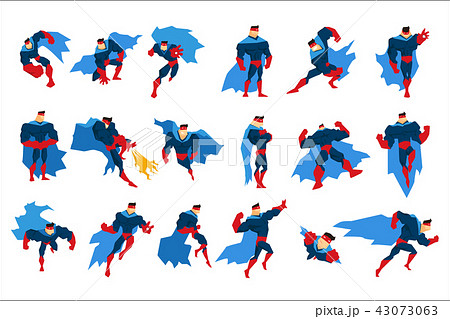 Superhero With Blue Cape In Different Comics Classic Poses Stickers 43073063