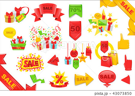 Sale Stickers And Banners Templates Set. Bright Color Graphic Design Vector Icons 43073850