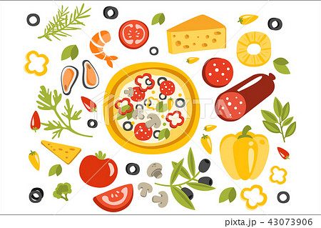 Pizza Preparation Set Of Ingredients Illustration. Flat Primitive Graphic Style Collection Of 43073906