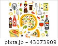 Pizza Preparation Set Of Utensils Illustration.Flat Primitive Graphic Style Collection Of Cooking 43073909