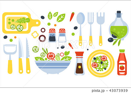 Salad Preparation Set Of Utensils Illustration. Flat Primitive Graphic Style Collection Of Cooking 43073939