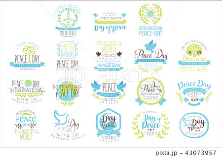 International Peace Day Set Of Label Designs In Pastel Colors 43073957