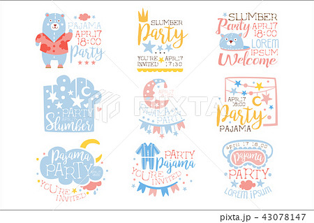 blue and pink girly pajama party invitation templates set inviting