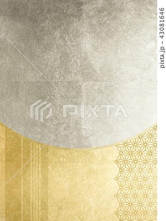 麻の葉丸付 ライン 金銀(背景素材) 43081646