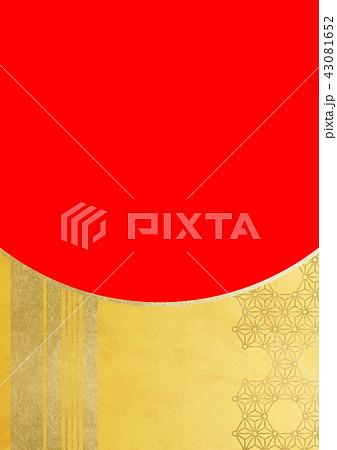 麻の葉丸付 ライン 金赤(背景素材) 43081652