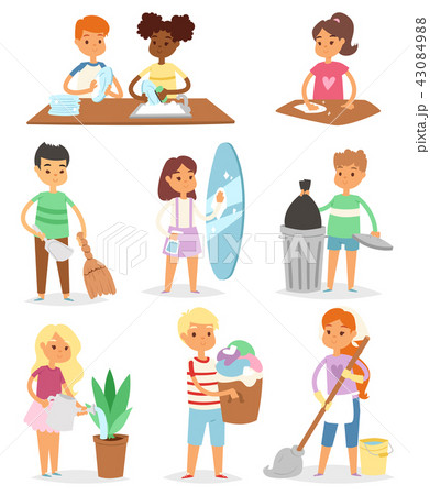 Kids vector cleaning rooms and helping their mums housework cartoon characters clean up illustration 43084988