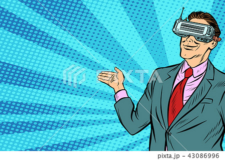 pop art businessman in VR glasses presents 43086996
