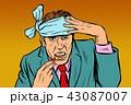 頭が痛い 頭痛 男のイラスト 43087007