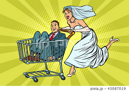 pop art Bride and groom in a shopping trolley 43087019