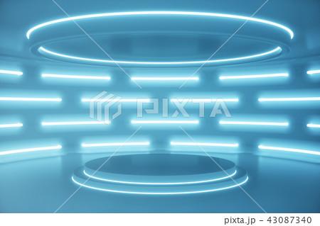 Interior blue futuristic background, sci-fi interior concept. Empty interior with neon lights 3D 43087340
