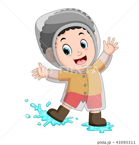 happy boy wearing raincoat 43093311