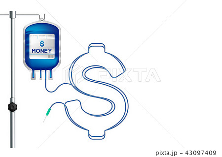 Blood bag blue color and Dollar currency sign 43097409