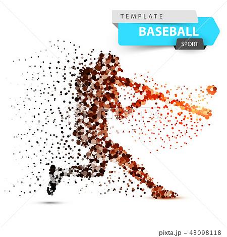 Baseball player - color dot illustration. 43098118