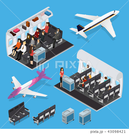 Airplane Interior Elements with People Isometric View. Vector 43098421