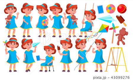 girl kindergarten kid poses set vector happy children character