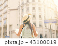 Attractive Young Tourist Girl Standing on Old Street with City Map and Look Around. 43100019