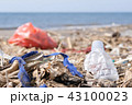 Plastic Waste and Trash on Sandy Beach. Environmental Pollution Problem Concept. 43100023