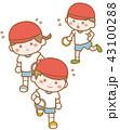幼稚園児のリレー(白背景) 43100288