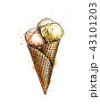 Ice cream in a waffle cup from a splash of watercolor 43101203