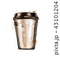 Paper coffee cup from a splash of watercolor 43101204