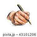 Male hand with pen from a splash of watercolor 43101206