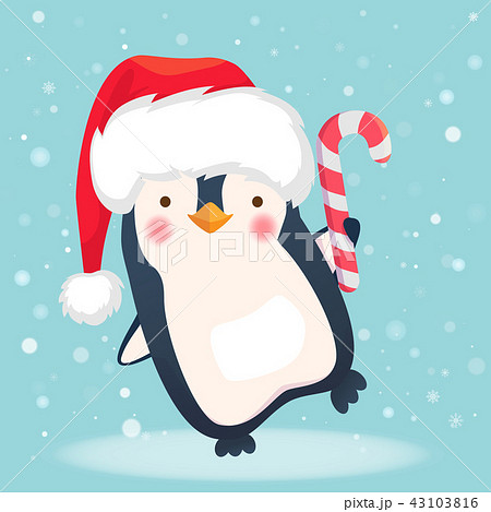 penguin with christmas candy 43103816