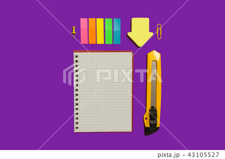 notebook, stickers and stationary knife 43105527