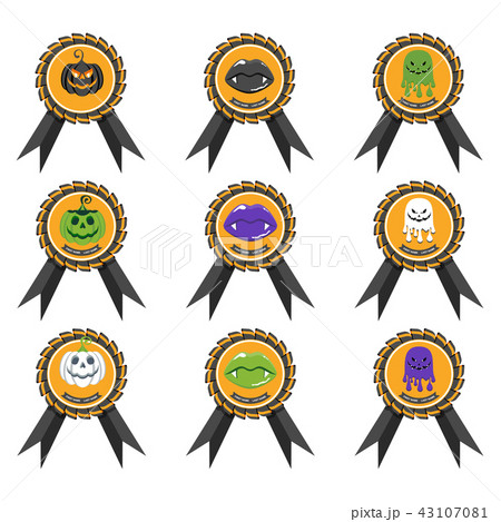 Badge with Halloween characters icon. Playful reward for Halloween party. 43107081