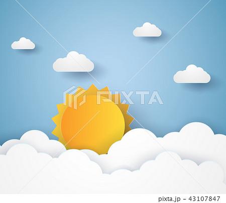Cloudscape , blue sky with cloud and sun 43107847