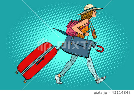 Woman traveler with Luggage 43114842