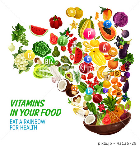 Rainbow color diet vitamin in healthy organic food 43126729