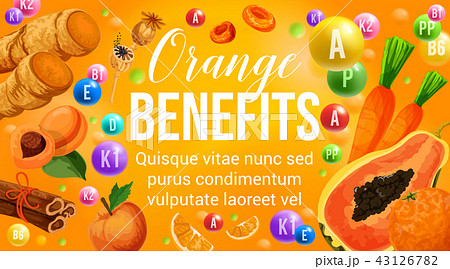 Orange diet fruits and healthy vitamin vegetables 43126782