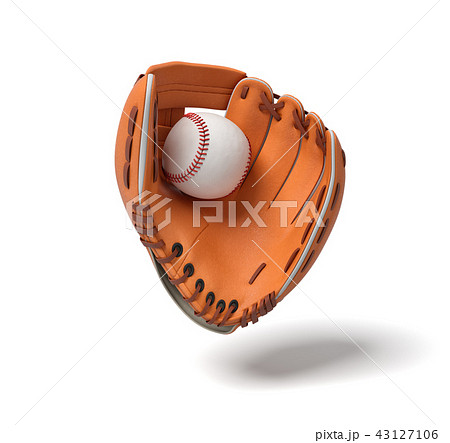 3d rendering of a new orange baseball mitt hanging on the white background with a white ball inside 43127106