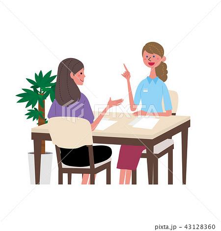 英会話 外国人と話す女性 イラスト 43128360
