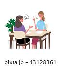 英会話 外国人と話す女性 イラスト 43128361